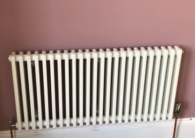 Heating and plumbing gallery - new radiator installed on a pink wall - Freeflow heating and plumbing