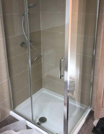 Kitchen and Bathroom Installations gallery - new corner shower - Freeflow heating and plumbing