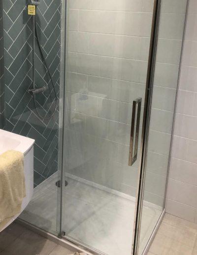 Kitchen and Bathroom Installations gallery - new single bathroom - corner shower unit - Freeflow heating and plumbing