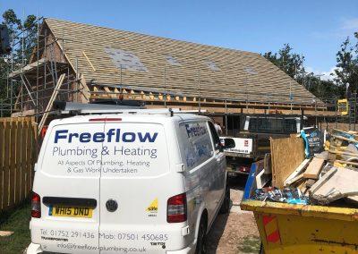 freeflow plumbing on site gallery - Freeflow van at a building site - Freeflow heating and plumbing